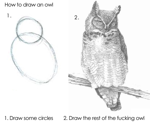 1. Draw some circles. 2. Draw the rest of the fucking owl.