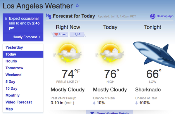 Los Angeles Weather Map Today.Weather Forecast Sharknado Know Your Meme