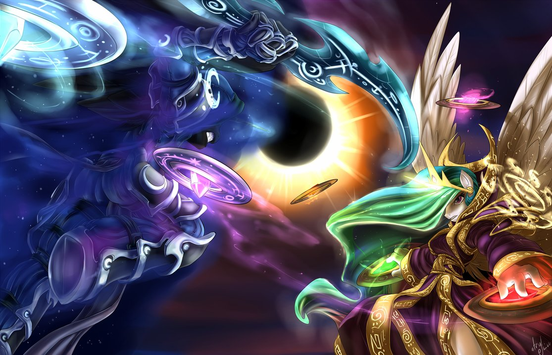 Princess Luna Celestia Purple Fractal Art Computer Wallpaper