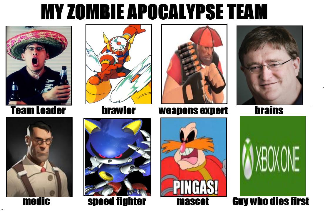 My zombie apocalypse team team leader brawler weapons expert brains pingas mascotuy who dies first medic
