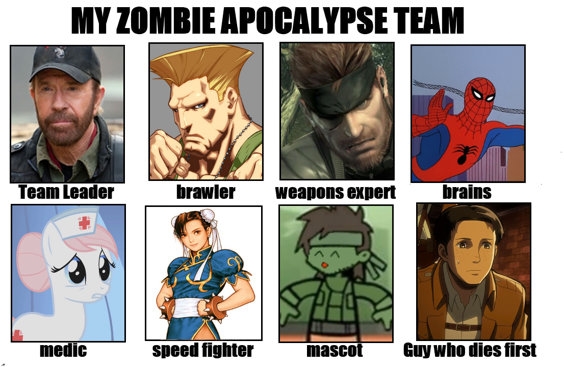 My zombie apocalypse team team leader brawler weapons expert brains medic speed fighter mascotuy who dies