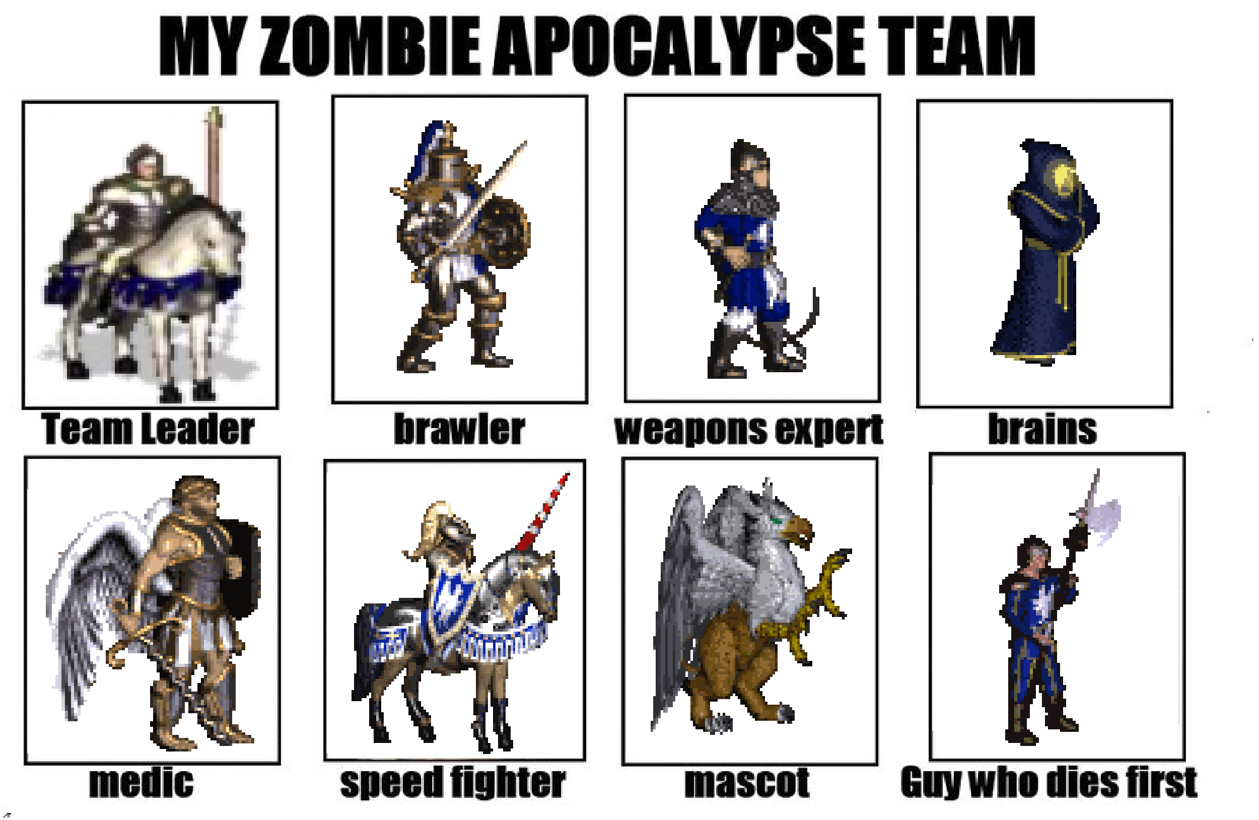 My zombie apocalypse team team leader brawler weapons expert brains medic speed fighter mascot guy who
