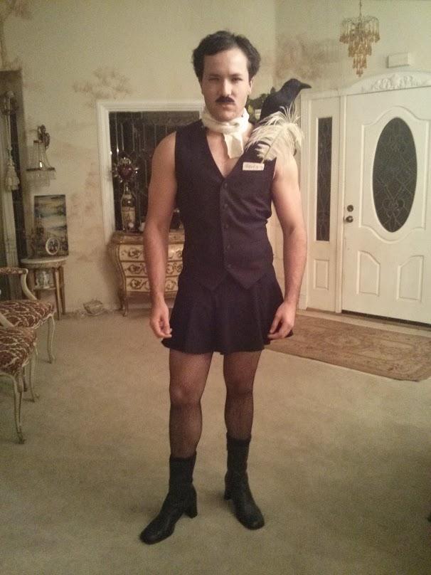 Edgar Allan Poe Costume Clothing Dress Footwear Little Black Dress Fashion Accessory Shoulder Leg Standing Tights