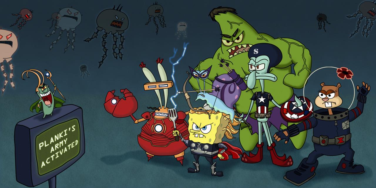 Plankts army activate spongebob squarepants the yellow avenger iron man hulk captain america black widow