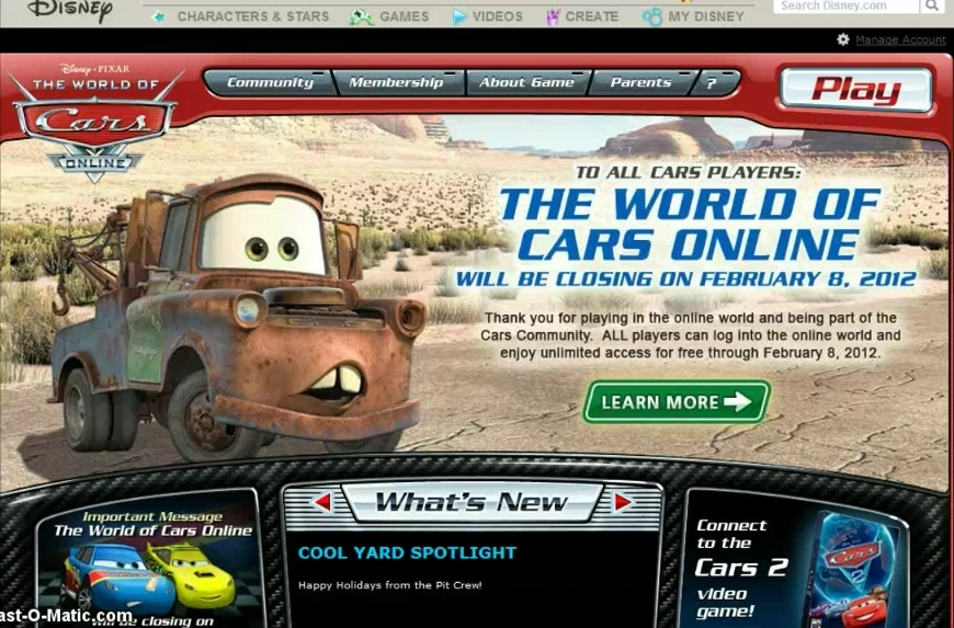 The Announcement Of The World Of Cars Online Closing Pixar S Cars