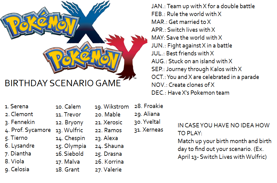 Pokemon X And Y Birthday Scenario Game Birthday Scenario Game