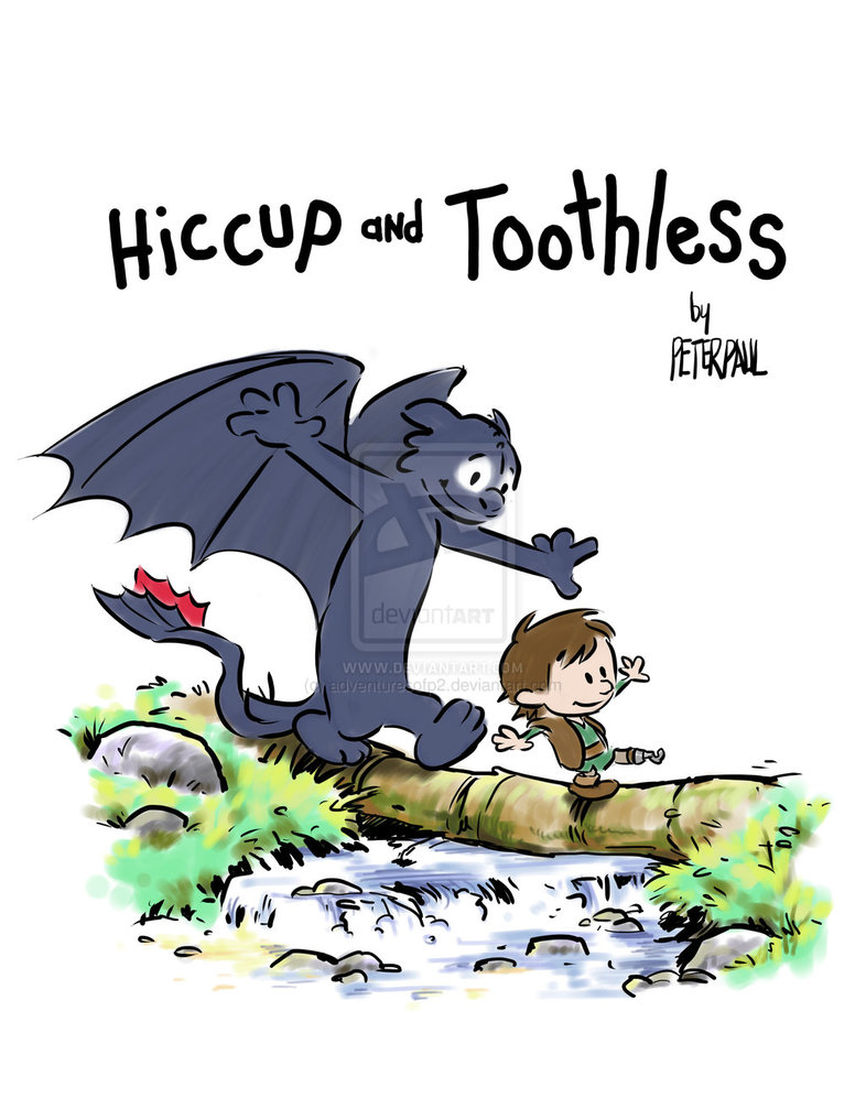 Hiccup and Toothless   Calvin and Hobbes Log Bridge Parodies