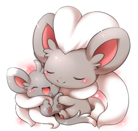 cinccino hugging minccino pokémon know your meme