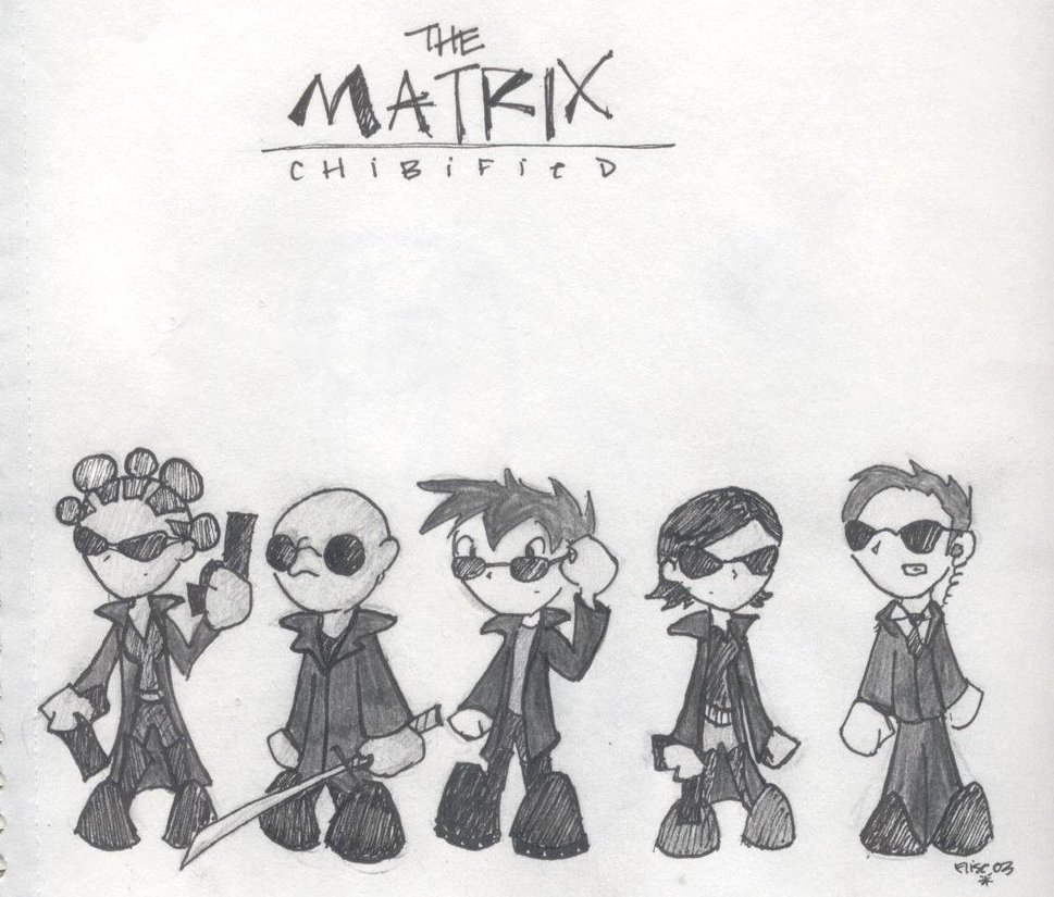 The Matrix Cute Know Your Meme Neo Trinity My Amplifier Matkx Eiscoa Agent Smith Morpheus Black And White Cartoon Text Human