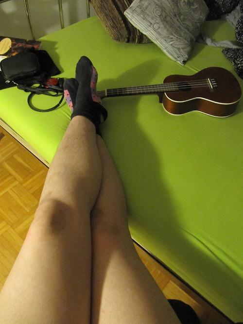 Womans hairy legs