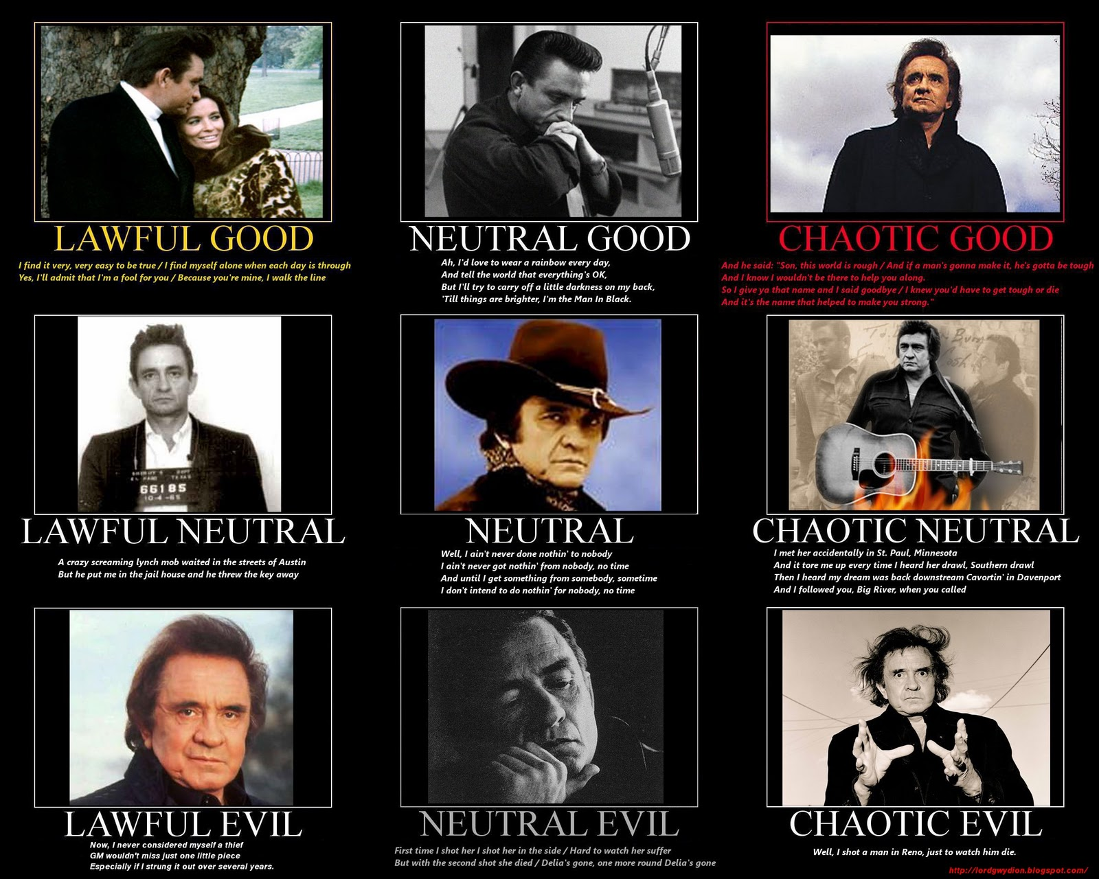 The Many Faces Of Johnny Cash Alignment Charts Know Your Meme