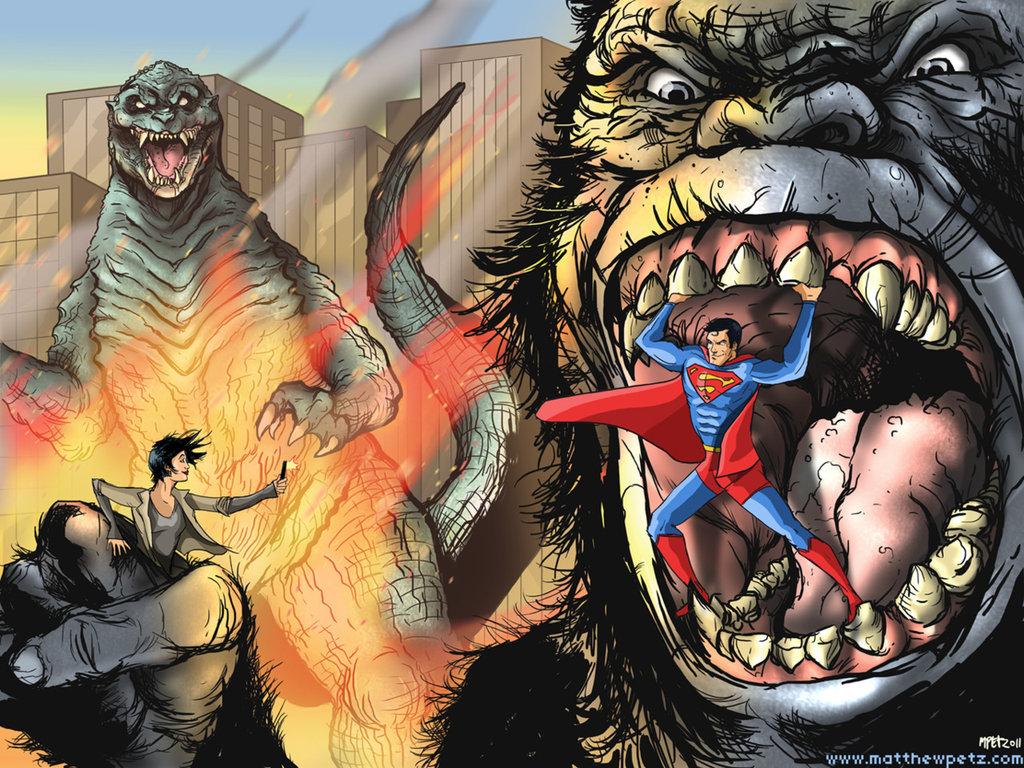 superman vs godzilla vs king kong crossover know your meme