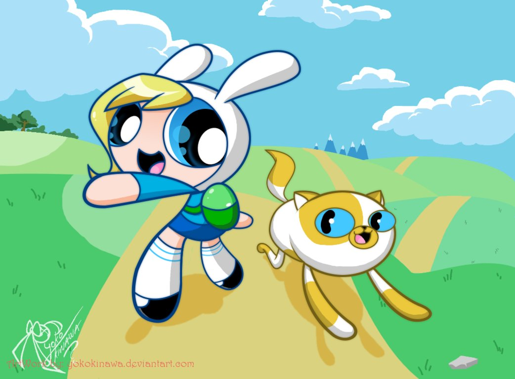 Adventure Time Finn And Fionna is time to fionna and cake | powerpuff style | know your meme