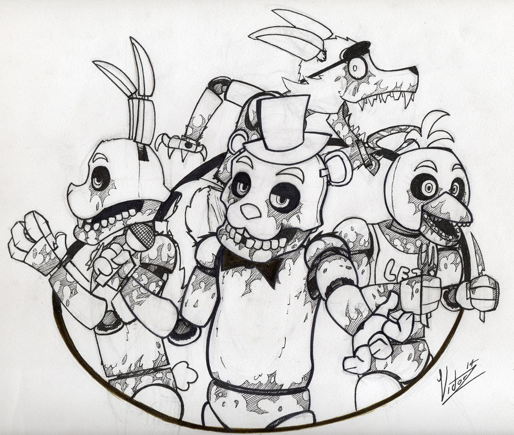 Five Nights At Freddys 4 Black And White Cartoon Vertebrate Drawing Art Sketch Fictional Character