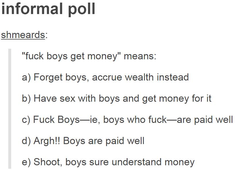 Boys take money for fuck