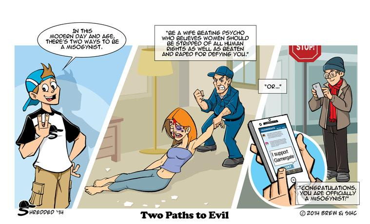 shredded webcomic on gamergate two paths to evil gamergate