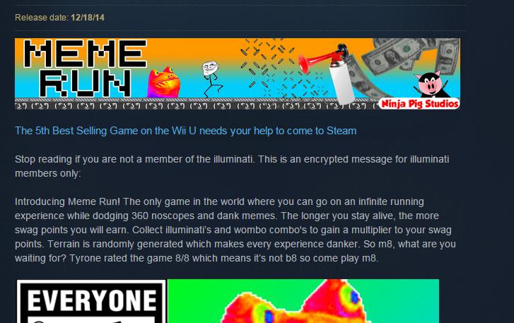 Meme Run Is Now On Steam Greenlight Meme Run Know Your Meme