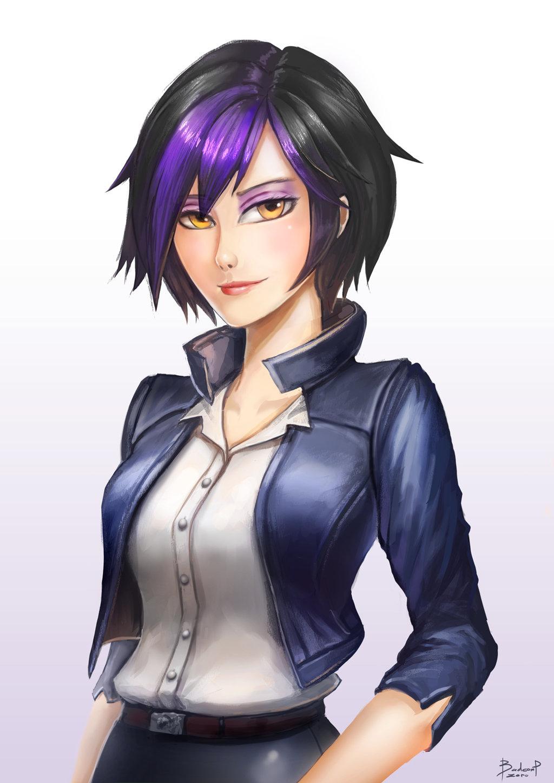 Gogo tomago baymax human hair color purple black hair hairstyle anime mangaka