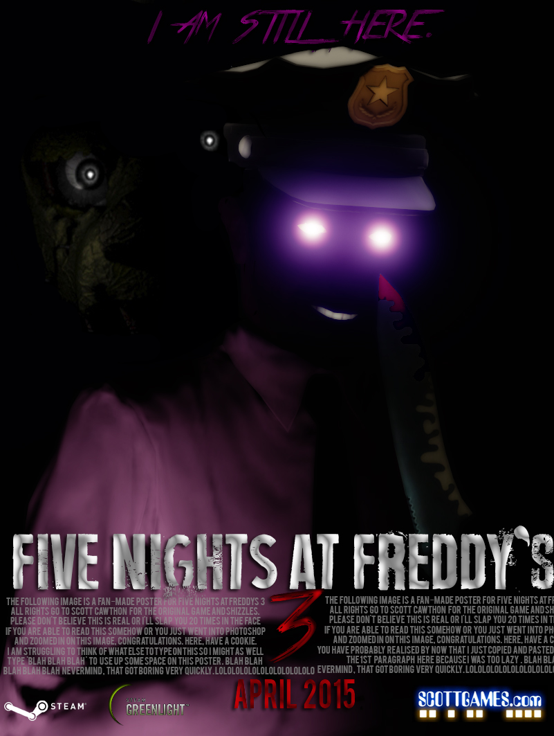 five nights at freddy s 3 poster the purple man fan made five