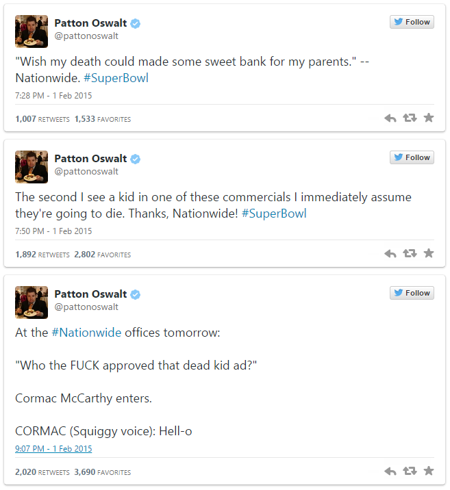 patton oswalt nationwide super bowl tweets nationwide dead kid