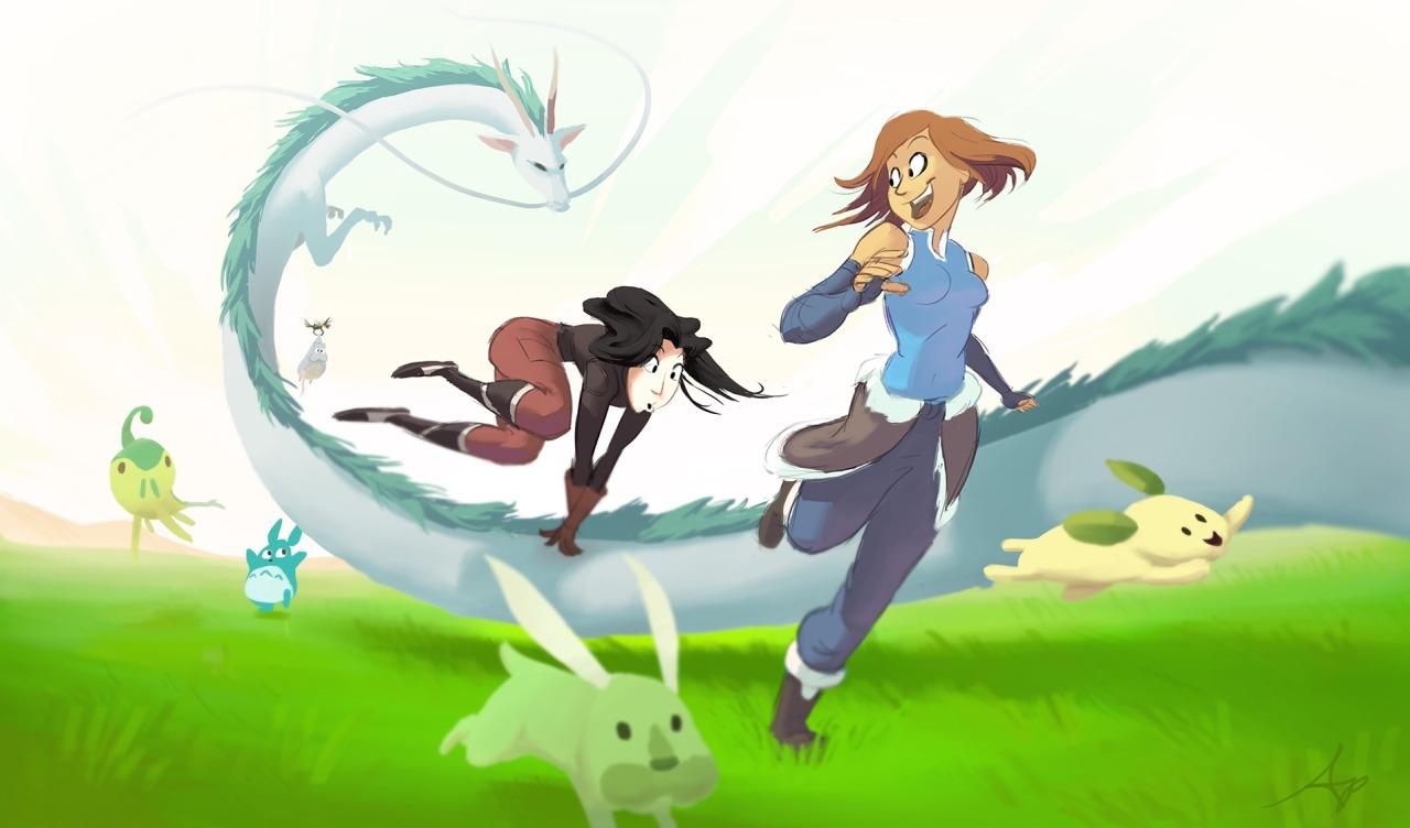 Aang Korra Appa Mammal Cartoon Vertebrate Anime Fictional Character Mythical Creature Illustration Horse Like Computer