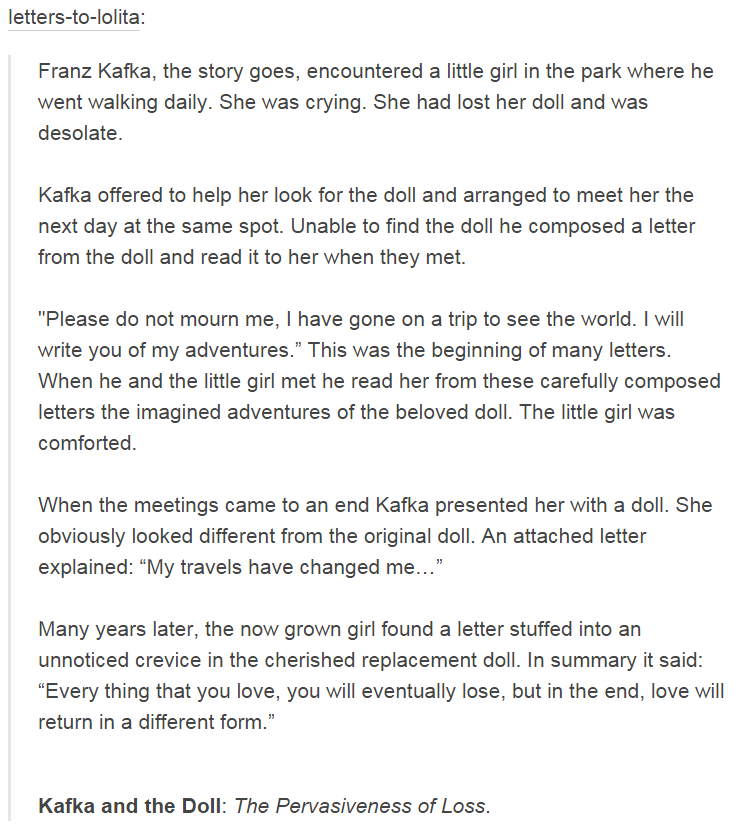 letters to lolita franz kafka the story goes encountered a little girl