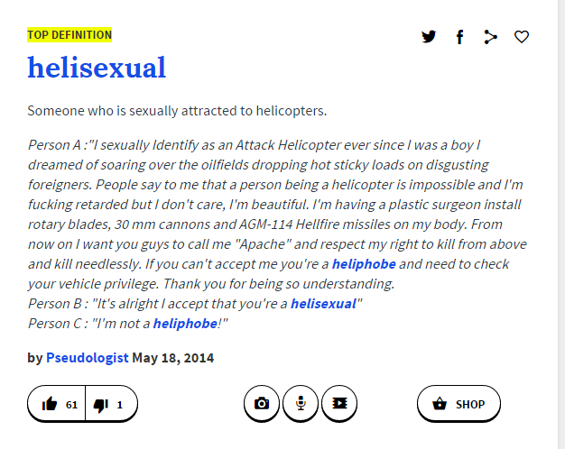Sexually identify as an attack helicopter origin