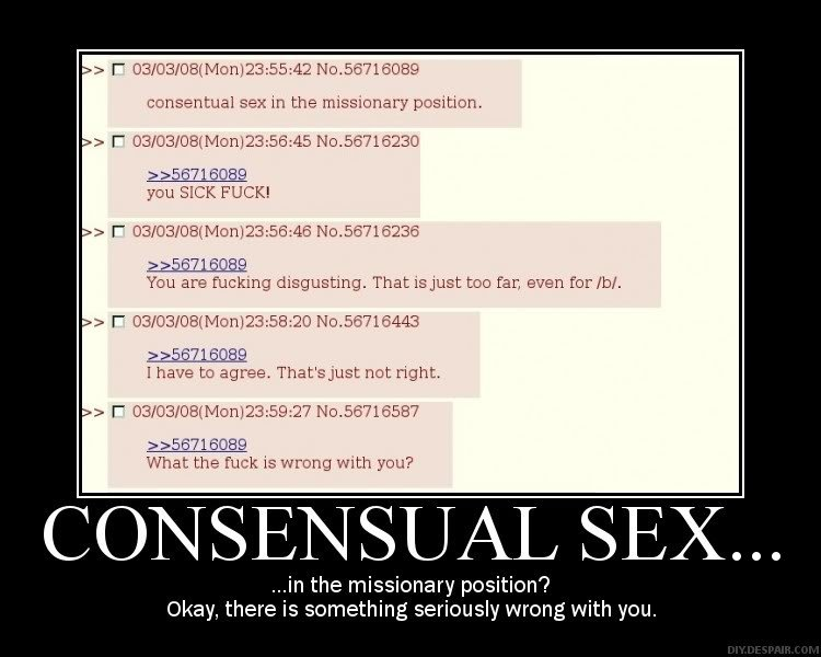 Consensual sex in the missionary position