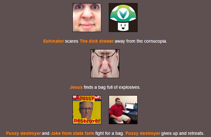 This is what happens when I use the hunger games simulator  | Hunger