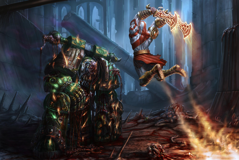 kratos vs plague marine crossover know your meme