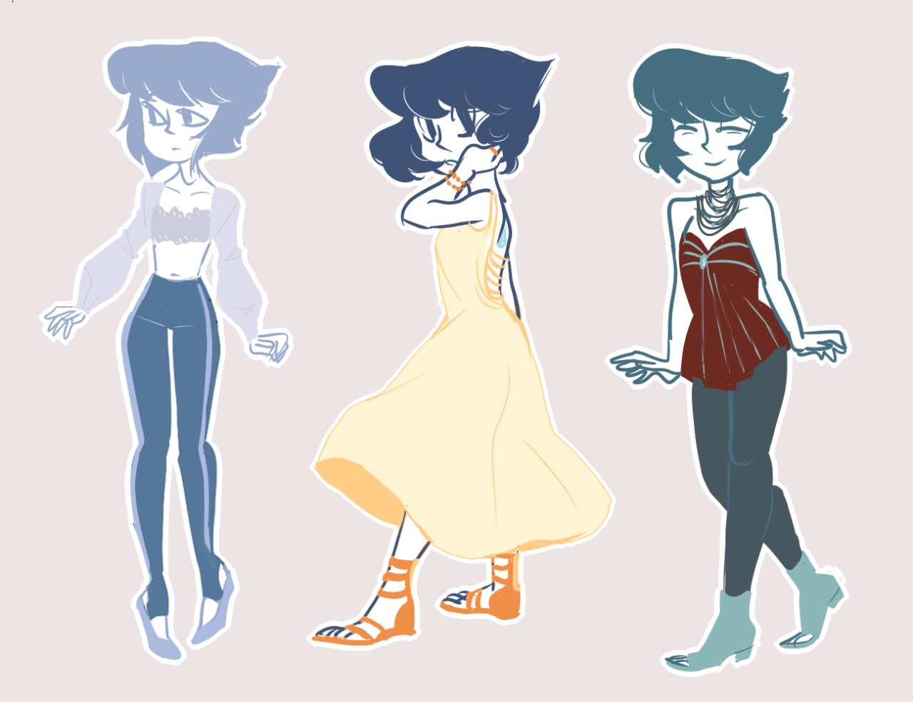 Lapis Lazuli wearing different clothes.
