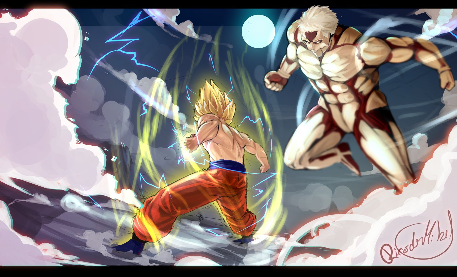 SSJ Goku vs Armoured Titan by ricardothb   Crossover   Know