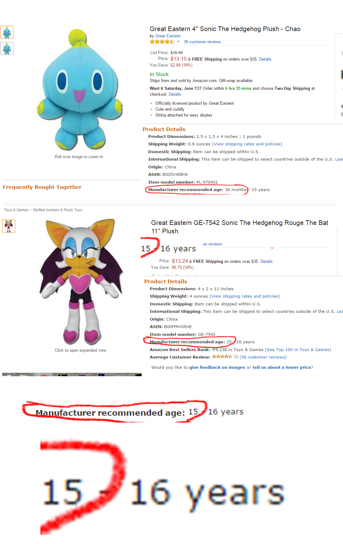 It Is Recommend That You Are At Least 15 Years Old Before You Buy The Rouge Plush Sonic The Hedgehog Know Your Meme