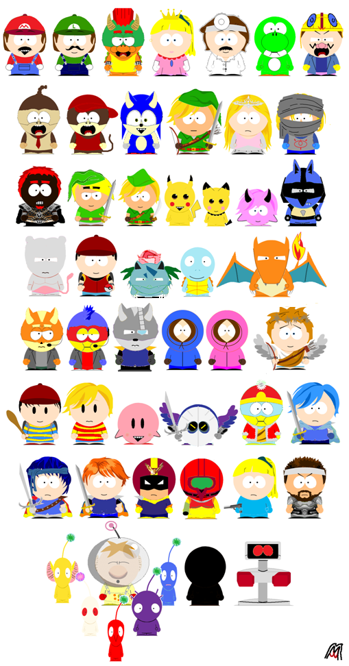 smash characters in south park style super smash brothers know