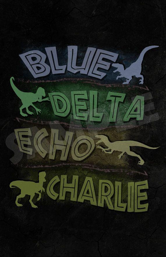 BLUE DELTA CHARLIE Dr Henry Wu Velociraptor Green Text Font Logo