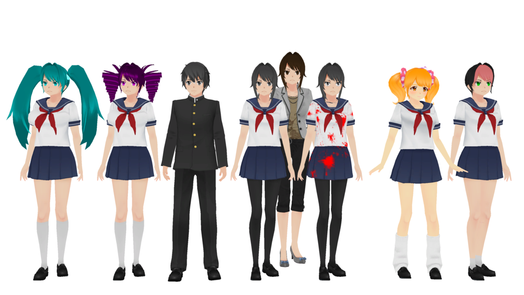 Some Of The Current Game Models For Mmd Yandere Simulator Know Rhknowyourmeme: Yandere Anime Coloring Pages At Baymontmadison.com
