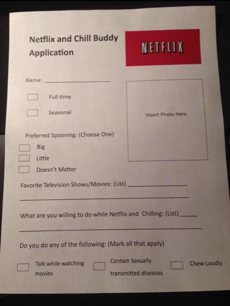 Fill out an application | Netflix and Chill | Know Your Meme
