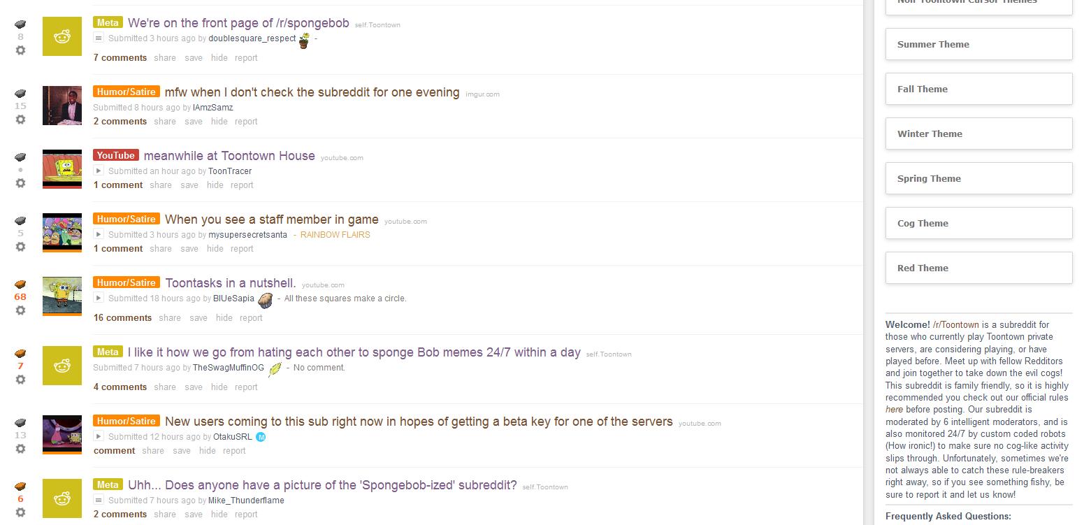 Toontown's Reddit during the big Spongebob craze   Disney's