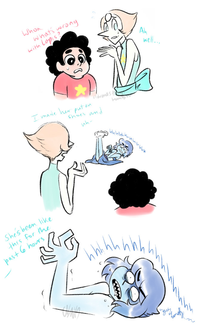Headcanon Lapis Physically Cannot Stand Wearing Shoes And Freezes Up Garbling In Old Gem Language Till They Re Removed Steven Universe Know Your Meme