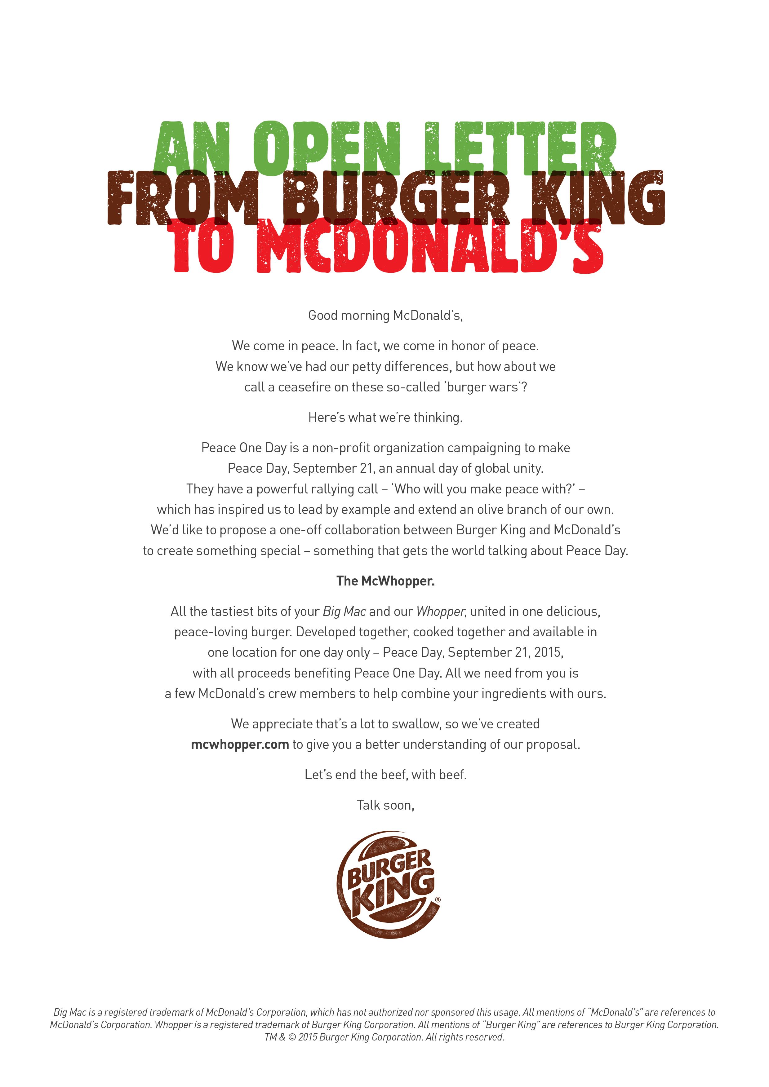 An Open Letter From Burger King to McDonald\'s | Peace Day Burger ...