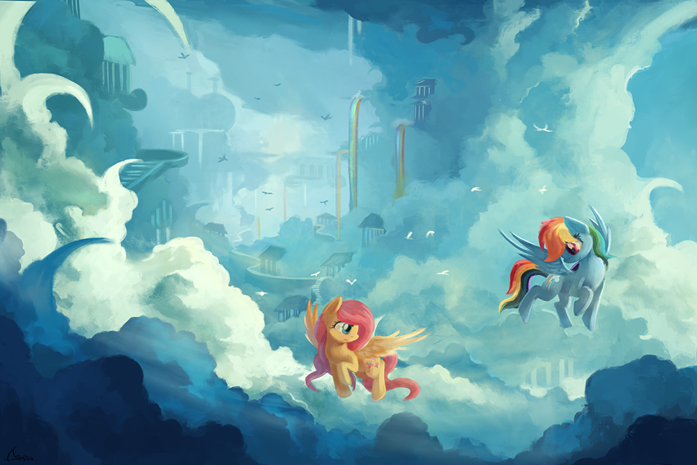 to cloudsdale commission by ajvl my little pony friendship is
