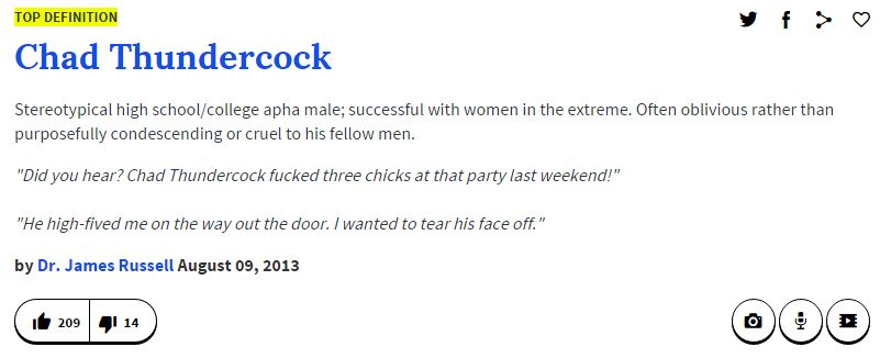 TOP DEFINITION Chad Thundercock Stereotypical high school/college apha male successful with women in  sc 1 st  Know Your Meme & Urban Dictionary Definition | Chad Thundercock | Know Your Meme