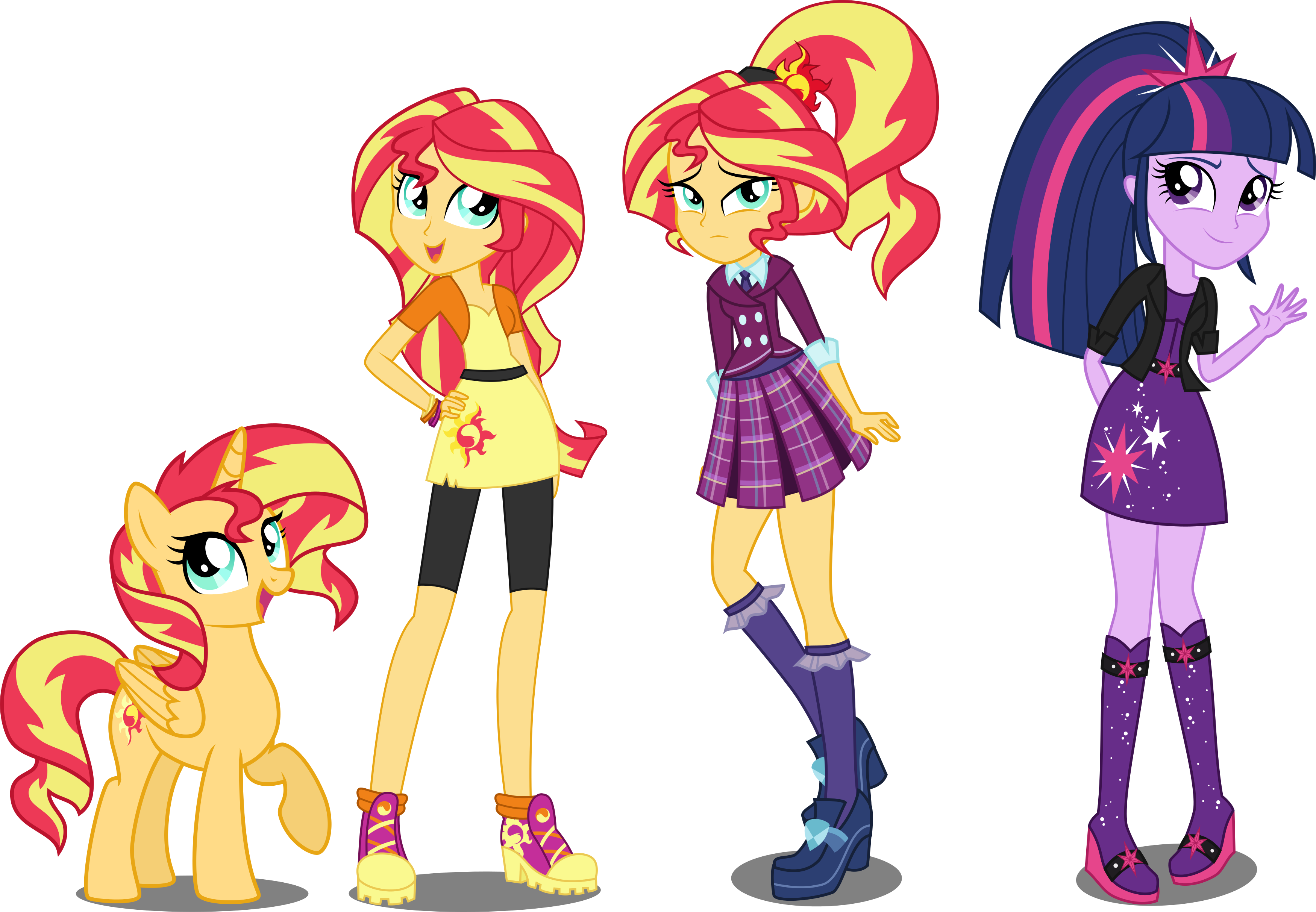 eqg au sunset shimmer and twilight sparkle by xebck my little pony