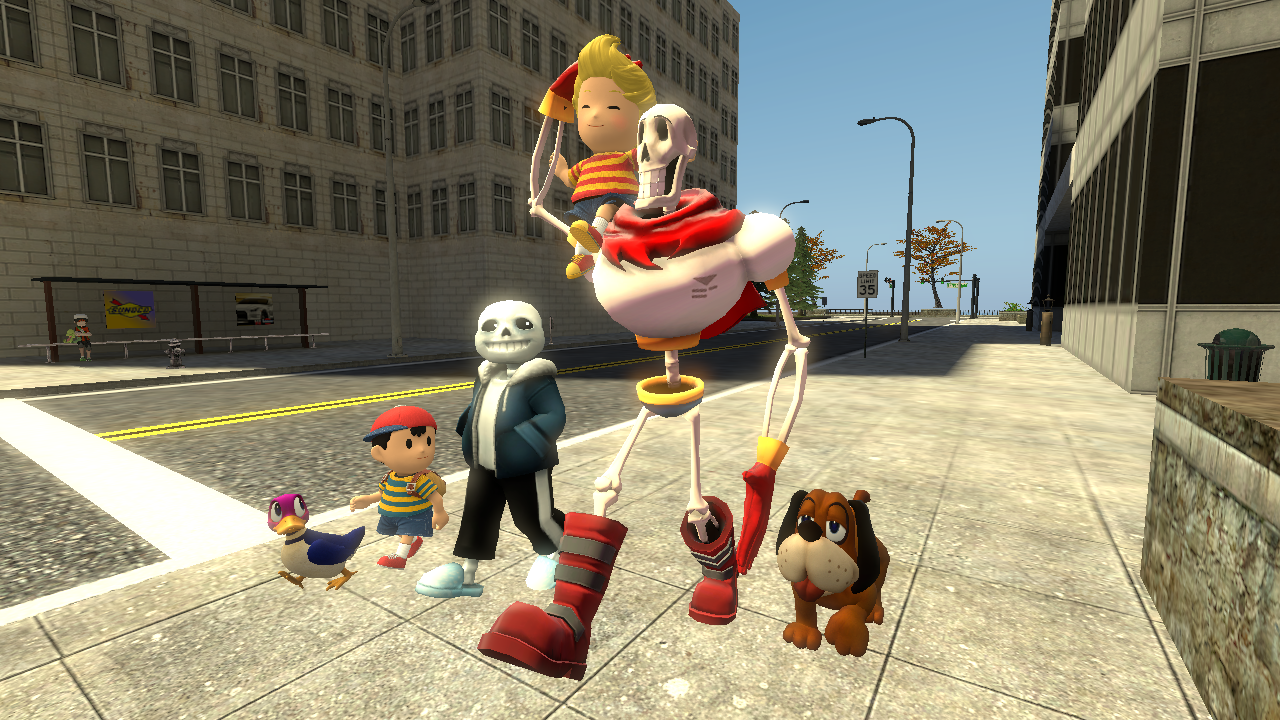 Lucas, Ness, sans and PAPYRUS! (Also, Duck and Dog