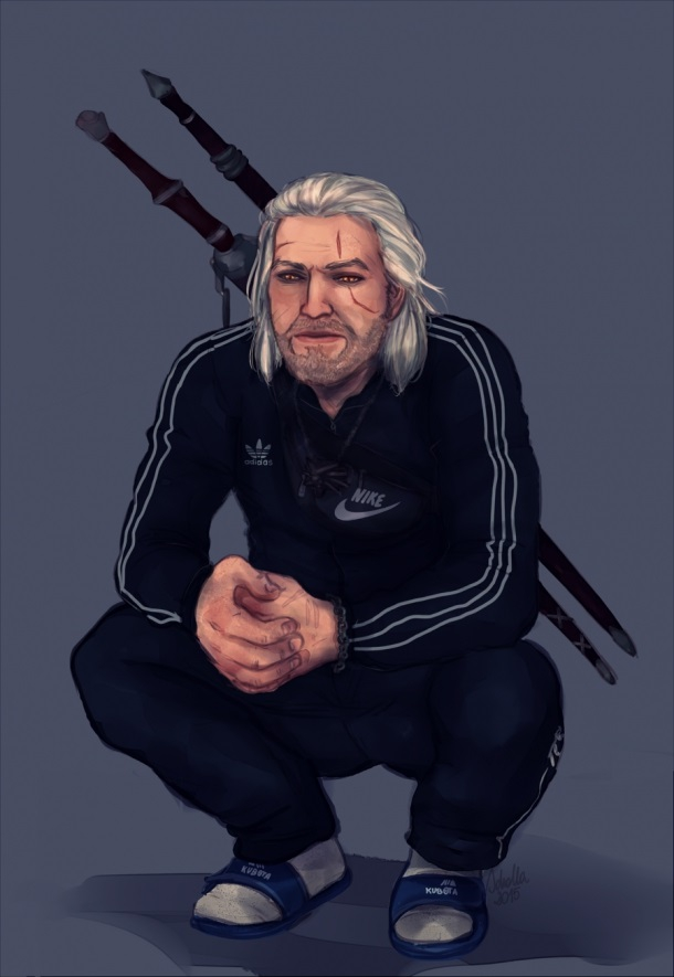 Squatting Geralt The Witcher Know Your Meme