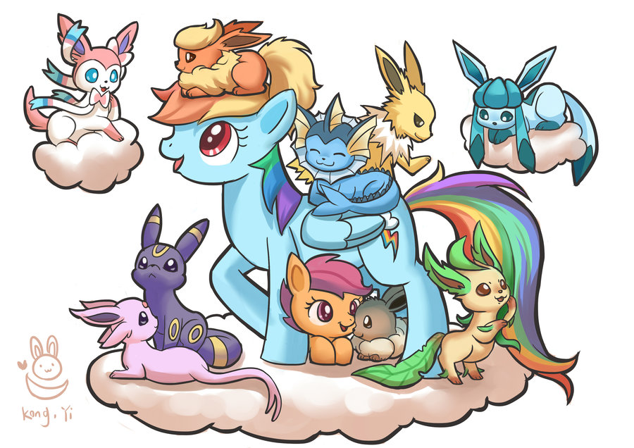 Rainbow Dash And Scootaloo With Eevee Family By Kongyi My Little Pony Friendship Is Magic Know Your Meme Please keep it clean and friendly. rainbow dash and scootaloo with eevee