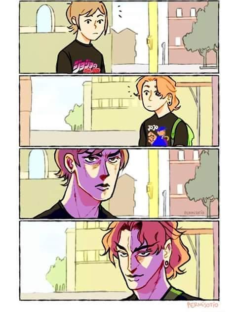 GioGios Bizarre Adventure Comics Cartoon Text Fictional Character Purple Fiction Comic Book