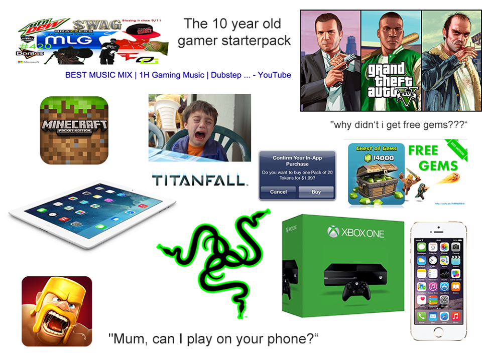 10 Year Old Gamer Starter Packs Know Your Meme