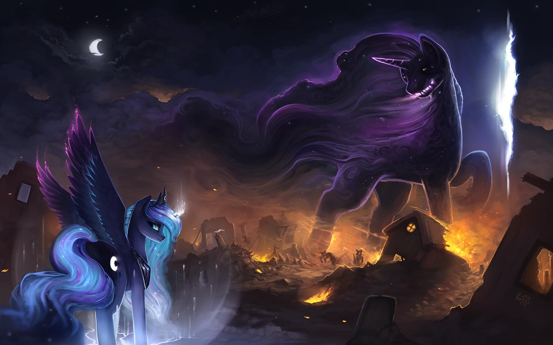Princess Celestia Luna Rarity Rainbow Dash Pony Purple Darkness Mythology Horse Like Mammal Dragon Mythical