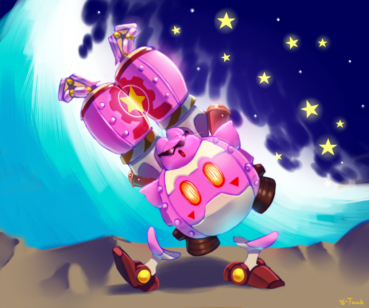 Kirby Planet Robobot Pink Cartoon Art Computer Wallpaper